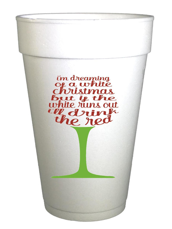 White Christmas Styrofoam Cups