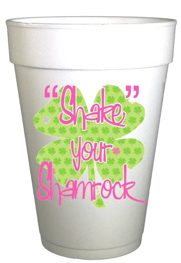 St Patricks Day Shake Your Shamrock Styrofoam Party Cups
