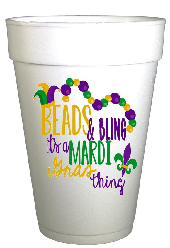 Mardi Gras Beads and Bling Styrofoam Party Cups