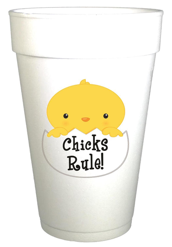 Chick's Rule Easter Styrofoam Cups - Preppy Mama