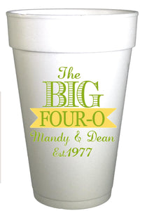 The Big 40 birthday personalized cups in green and yellow