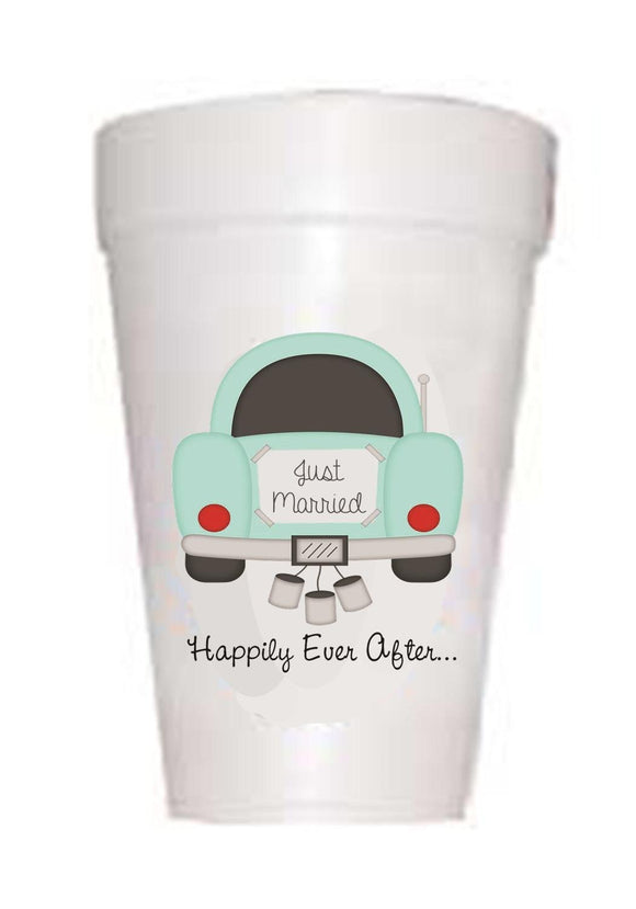 'Happily Ever After' Wedding Styrofoam Cups - Preppy Mama
