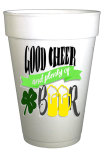 St Patricks Day Good Cheer and Beer Styrofoam Cups