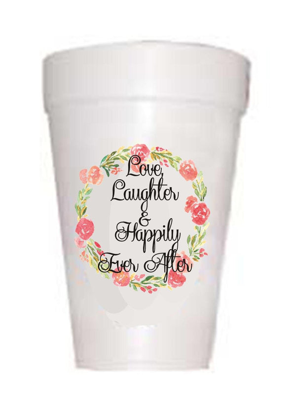 'Love and Laughter' Wedding Styrofoam Cups - Preppy Mama