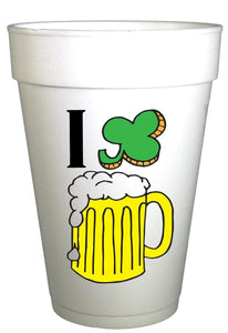 St Patricks Day I LOVE BEER Styrofoam Party Cups