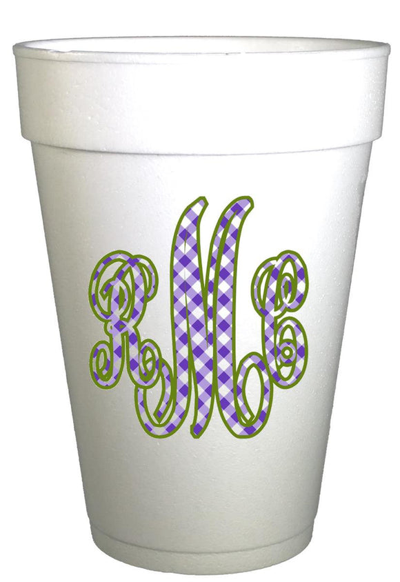 Personalized Monogrammed Gingham Cups-Gingham Party Cups-Preppy Mama