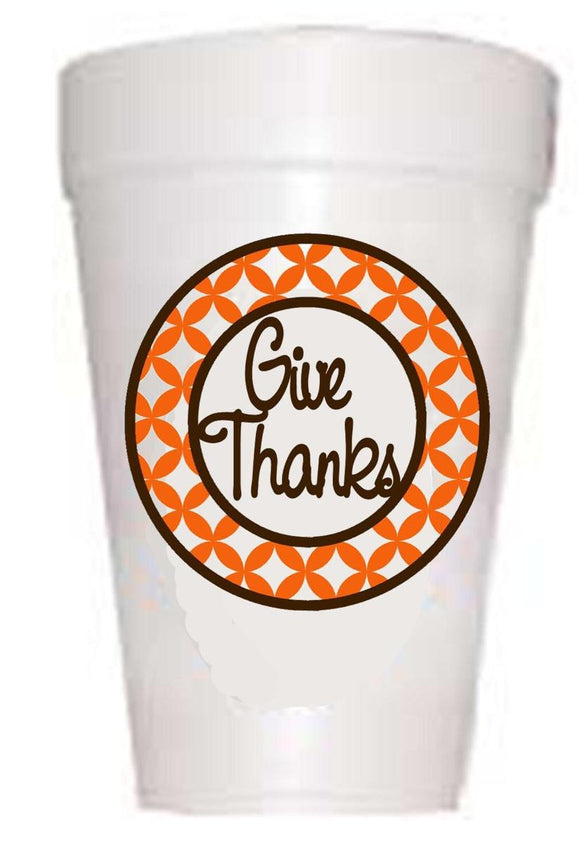 Give Thanks Thanksgiving Cups-Styrofoam Thanksgiving Cups-Preppy Mama