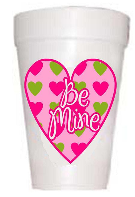 Be Mine Heart Valentine Styrofoam Party Cups - Preppy Mama