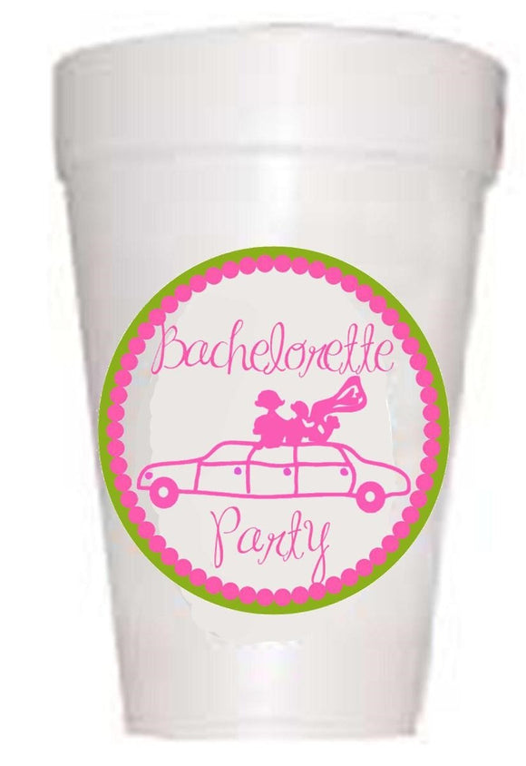 Bachelorette Limo Bachelorette Party Cups Styrofoam Pink