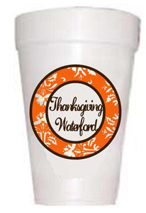 Thanksgiving Waterford Damask Styrofoam Cups