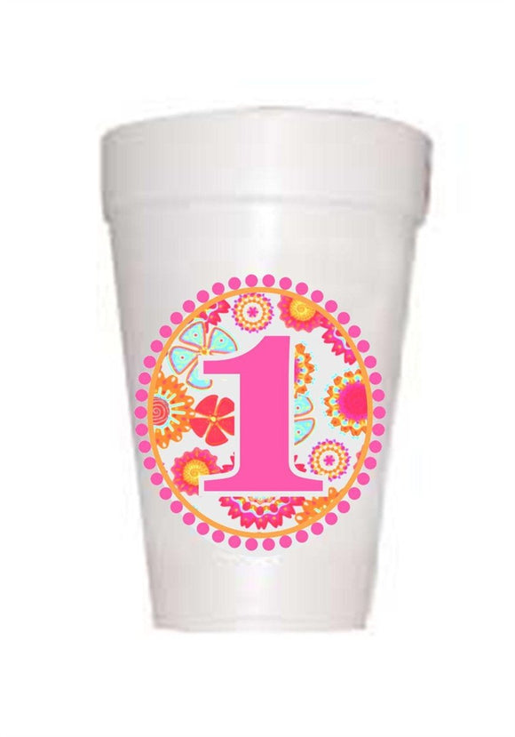Retro hot pink #1 on styrofoam cups for girls first birthday