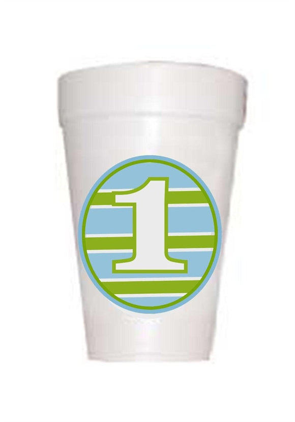 Blue and Green Boy Stripe First Birthday Styrofoam Cup with number 1