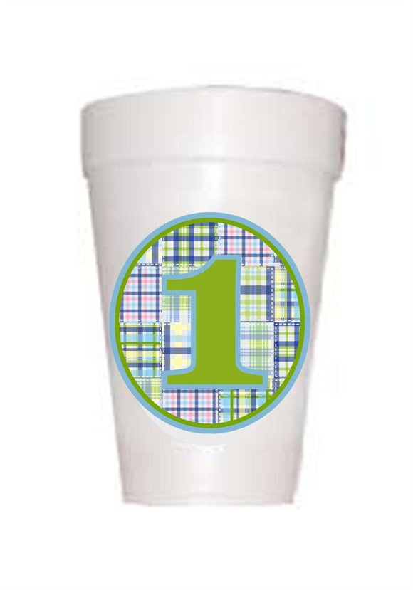 Blue and Green Boy Madras First Birthday Styrofoam Cup