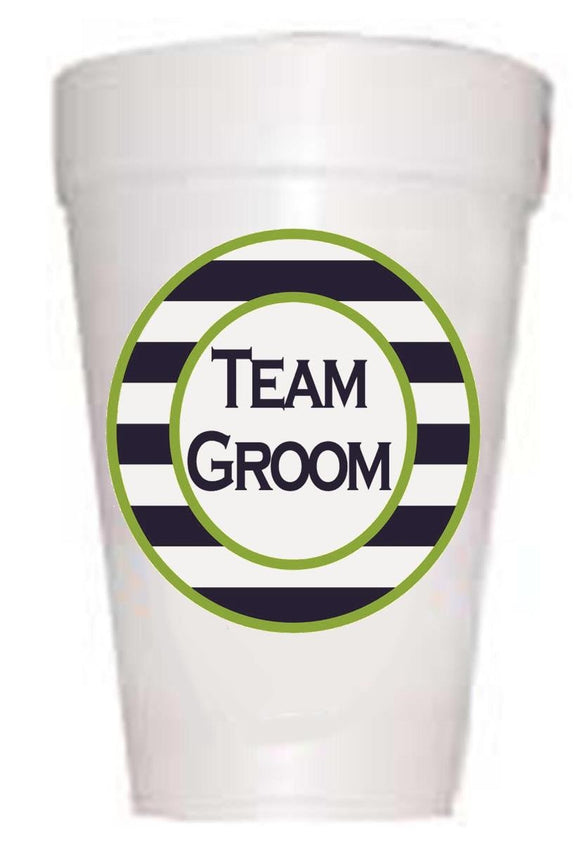 styrofoam cup with team groom in navy and green stripe