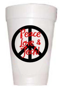 Texas Tech Peace-Love-Tech Styrofoam Cups