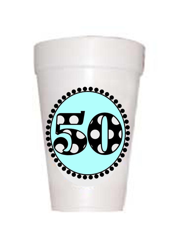 50th Birthday Styrofoam Cups in Blue with black polka dot 50