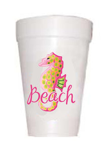 Seahorse on styrofoam cups with text Beach