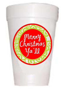 Merry Christmas Y'All Styrofoam Cups