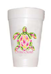 sea turtle on styrofoam cups with sun and sand text