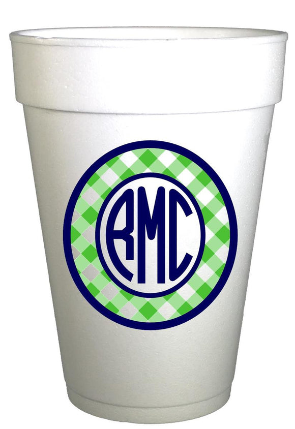 Custom Gingham Cups- Personalized Monogrammed Graduation Cups-Preppy Mama