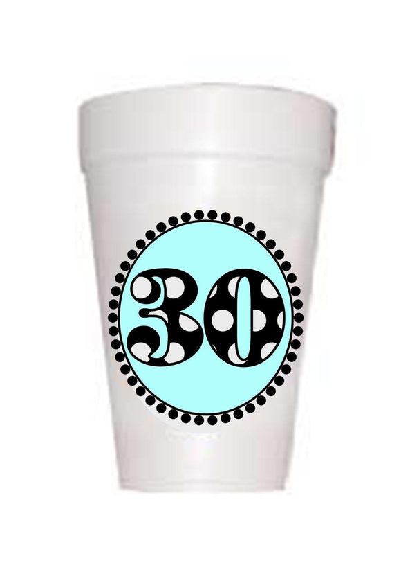 30th Birthday Styrofoam Cups in Blue with black polka dots