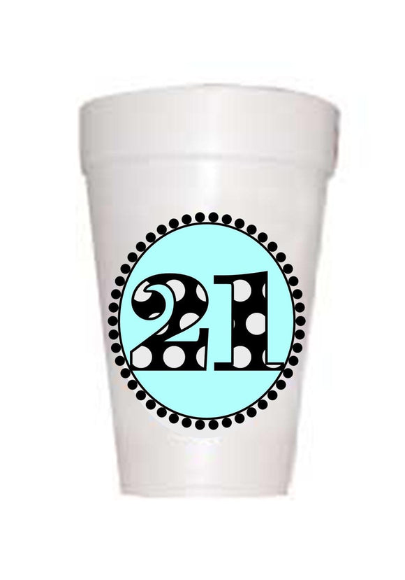 21st Birthday Styrofoam Cups in blue with black polka dots