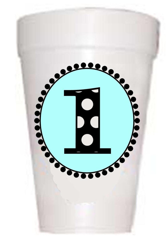 blue first birthday party cups styrofoam with black polka dots