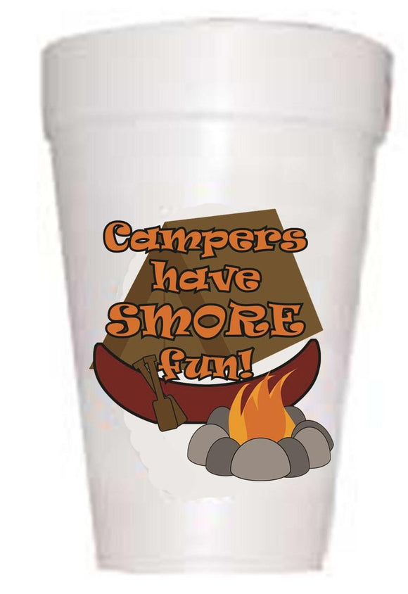 Campers Have Smorefun' Cups  with tent and campfire