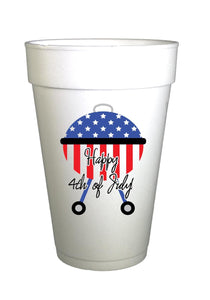 Happy Fourth of July Styrofoam cup with red white and blue grill Cups BBQ grill