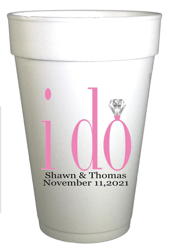 I do Crew Ring Personalized Engagement Party Cups-Engagement Ring Cups-Preppy Mama