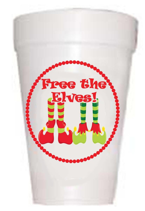 Free the Elves Christmas Styrofoam Cups -10 each 16oz