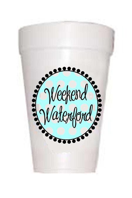 Weekend Waterford- Blue Polka Dot Styrofoam Cups