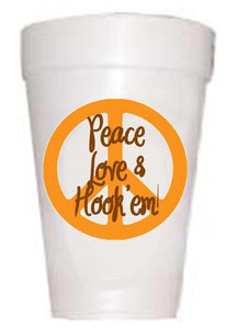 TX Peace-Love-Hook 'Em Styrofoam Cups