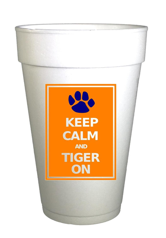 AU Tiger Keep Calm Styrofoam Cups - Preppy Mama
