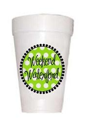 Weekend Waterford- Lime Polka Dot Styrofoam Cups