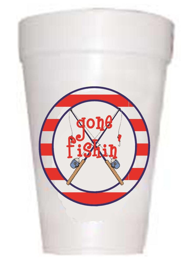 fishing reel on styrofoam cup with gone fishin text
