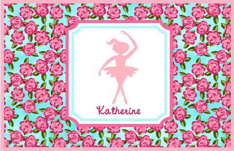 Floral Dancer Silhouette Personalized Placemat - Preppy Mama