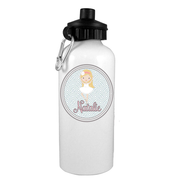 Blonde Fashion Ballerina Personalized Water Bottle - Preppy Mama