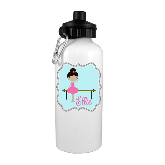 Black Hair Ballerina at Bar Personalized Water Bottle - Preppy Mama