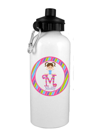 Girl Gymnast with Brown Hair Personalized Water Bottle - Preppy Mama