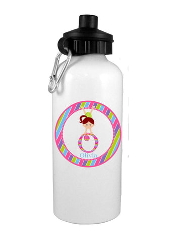 Girl Gymnast with Red Hair Personalized Water Bottle - Preppy Mama