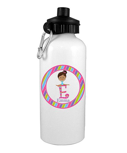Black Hair Gymnast Personalized Water Bottle - Preppy Mama