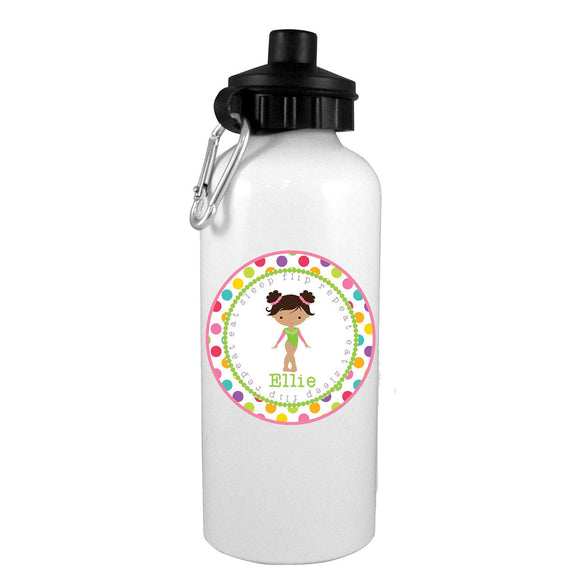 Black Hair Gymnast Eat-Flip-Sleep-Repeat Personalized Water Bottle - Preppy Mama
