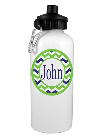 Blue/Green Chevrons with Name Personalized Water Bottle - Preppy Mama