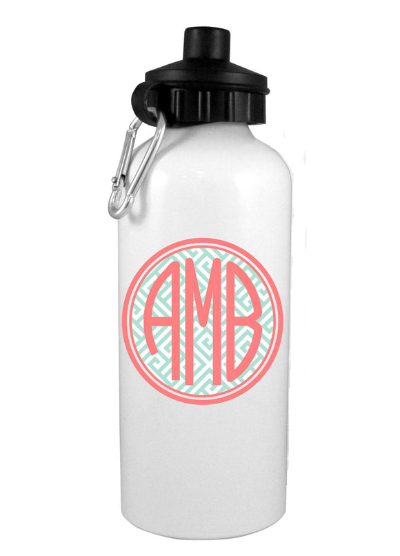 Aqua Greek Key Coral w/Mono Water Bottle - Preppy Mama