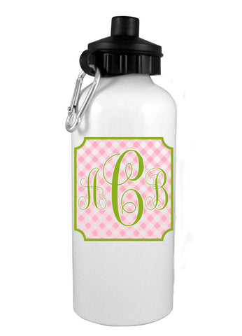 Pink Gingham w/Mono Water Bottle - Preppy Mama