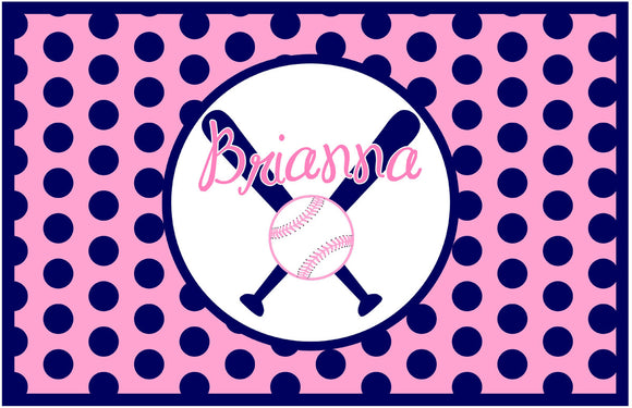 Girl Baseball Personalized Placemat - Preppy Mama