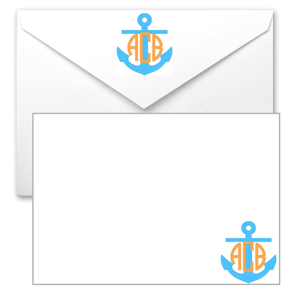 Aqua Anchor with Orange Monogram - Preppy Mama