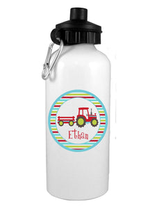 Tractor w/ Name Water Bottle - Preppy Mama