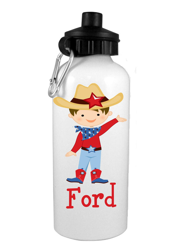 Cowboy Brown  w/Name Water Bottle - Preppy Mama